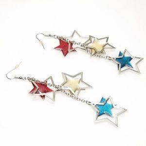 Red White Blue Patriotic Cascading Stars Earrings